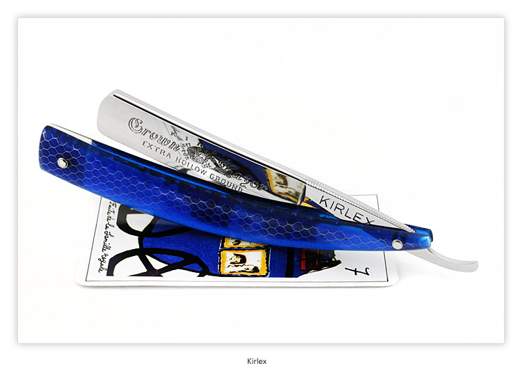 Kirlex - King's Crown Razor - USA - 6/8 - Extra Hollow Ground - C-Tek Blue - Shave Ready
