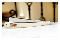 Real Red Point Razor - #519 - Solingen - Germany - Harris Brothers & co.,Distributors - Chicago - 9/16 - Full Hollow -  Faux Ivory Micarta - Shave Ready